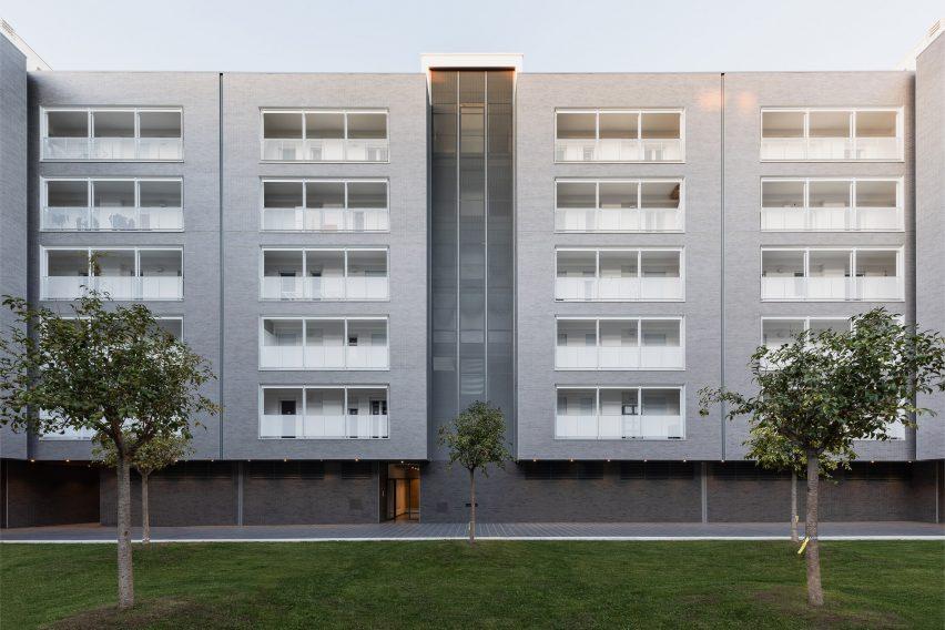The building has a symmetrical design