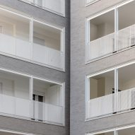 Some balconies are recessed into the building