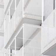 The balconies are finished in white