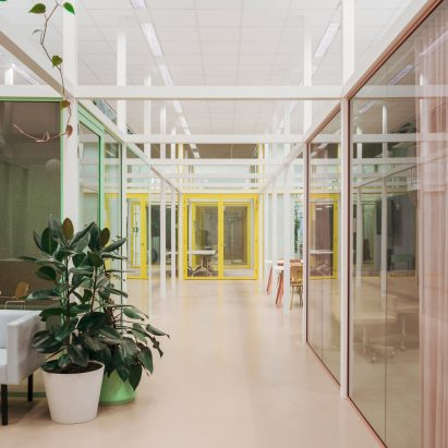 Office with grid interior in Amsterdam