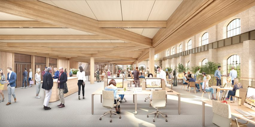 Timber workspaces within an old industrial building