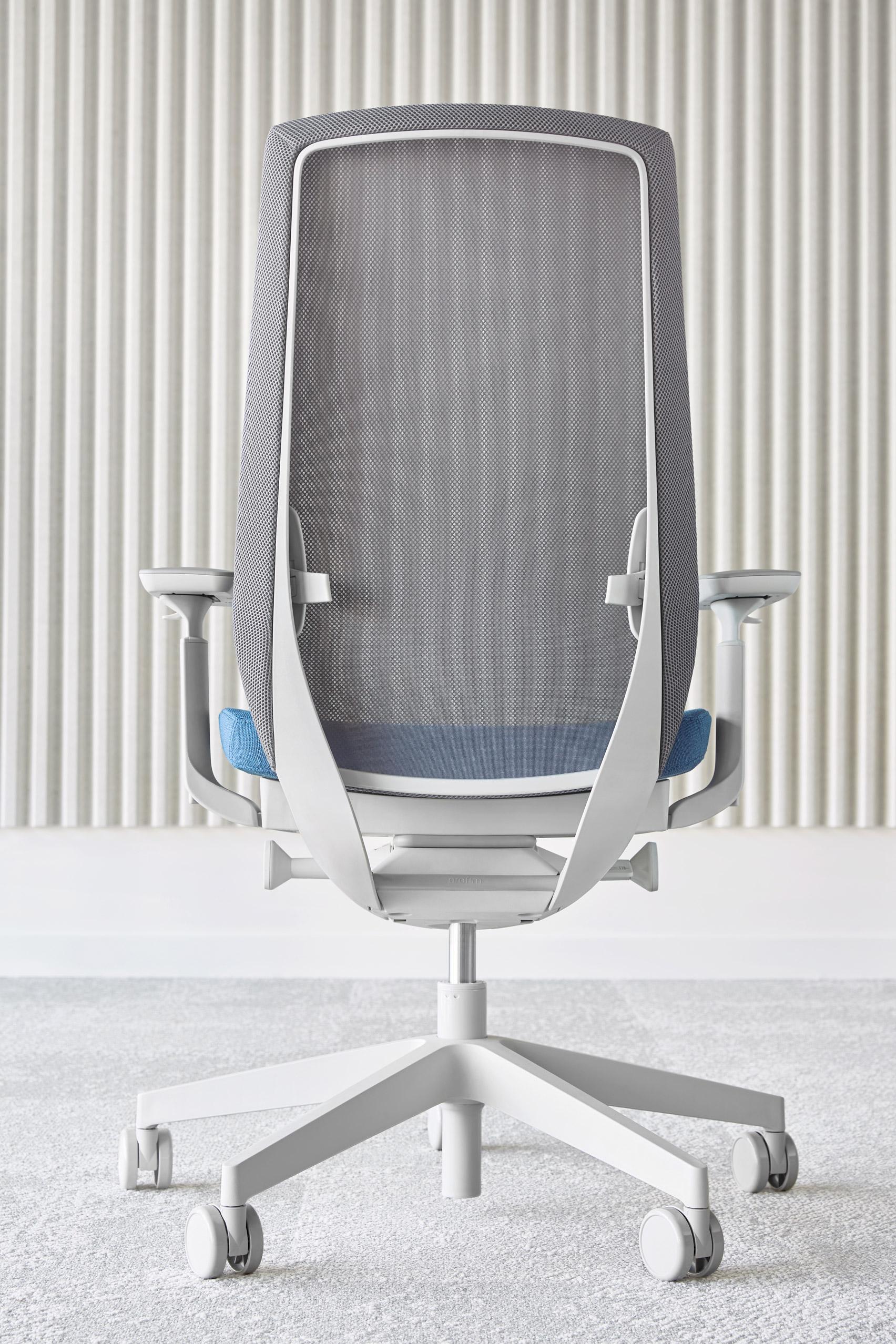An ergonomic office chair with a mesh backrest