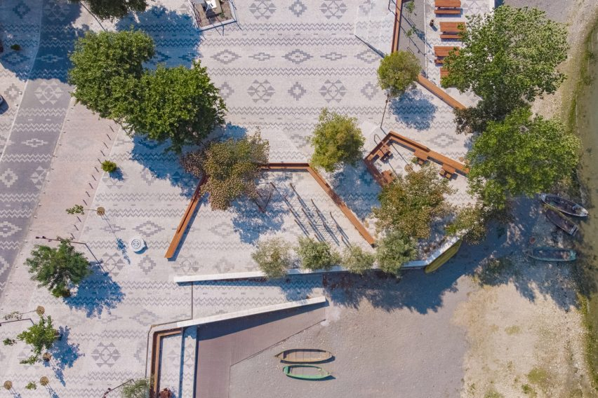 An aerial view of a patterned plaza in Albania