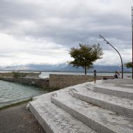 A stepped waterfront made from granite