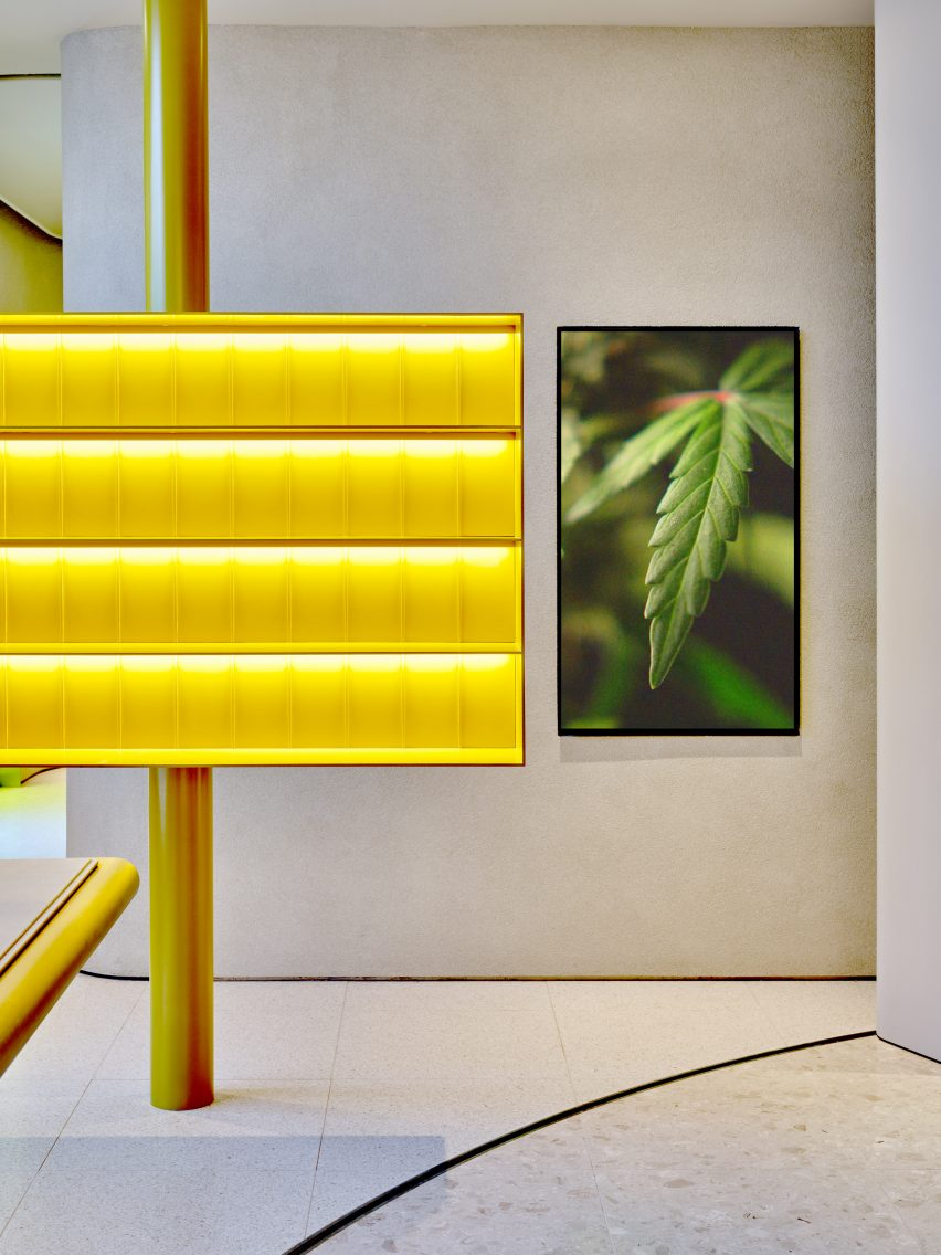 Yellow resin display shelves in Canadian cannabis shop