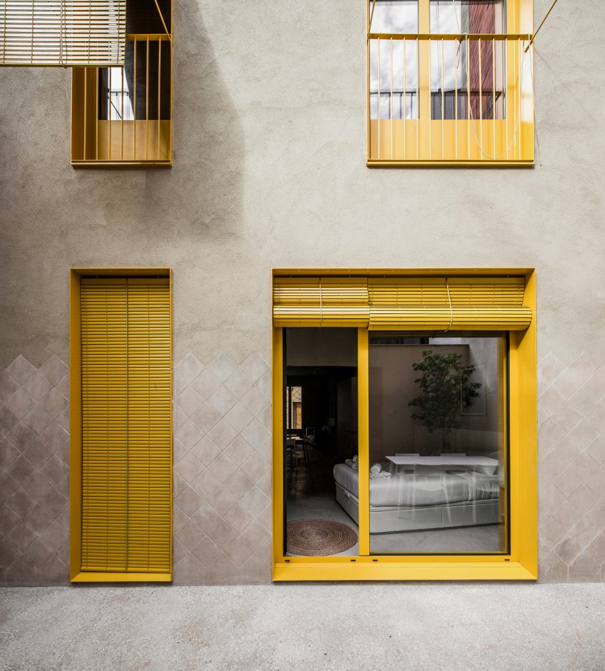 Yellow finishes run throughout the building