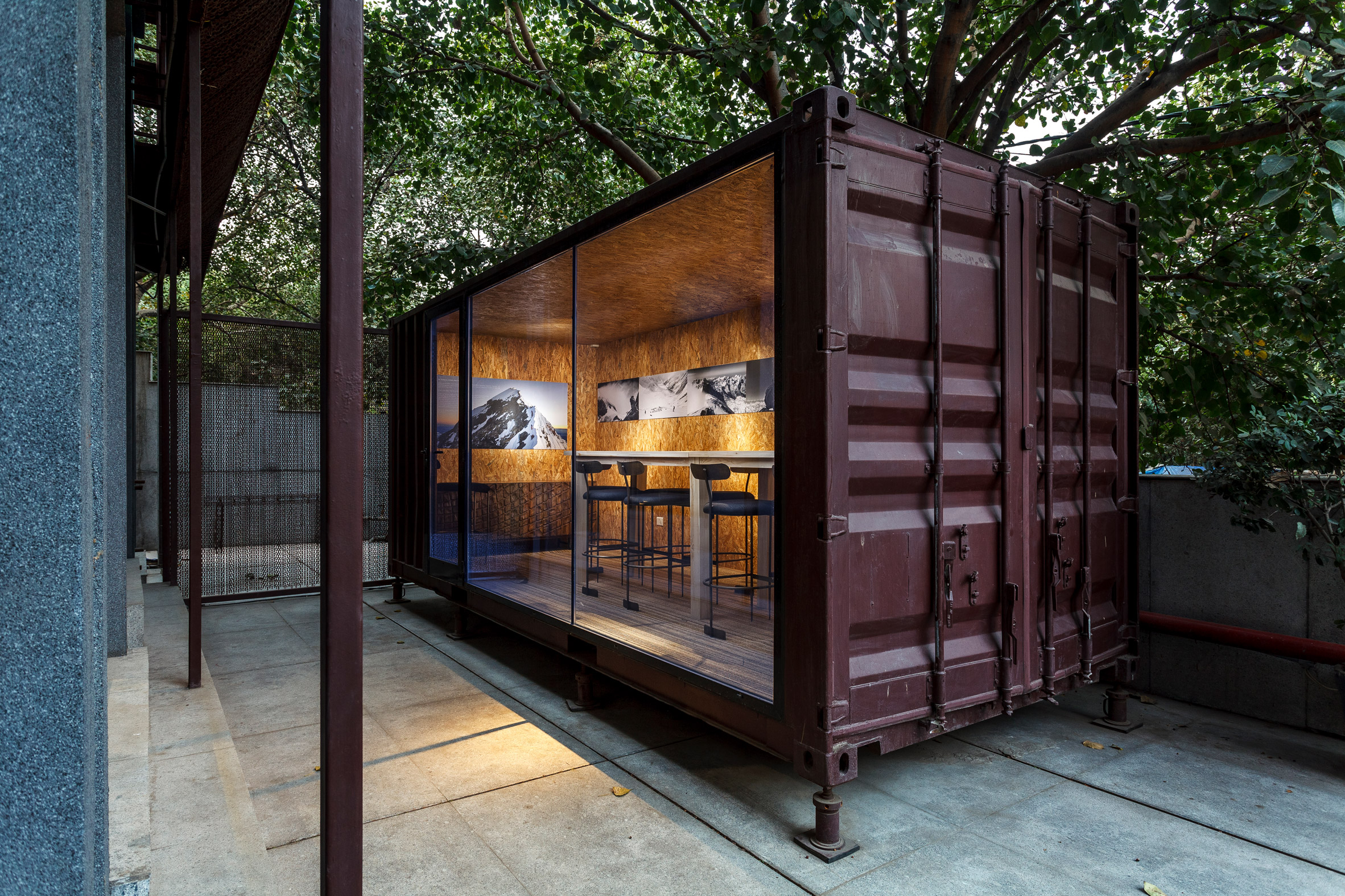 The shipping container has chipboard interiors