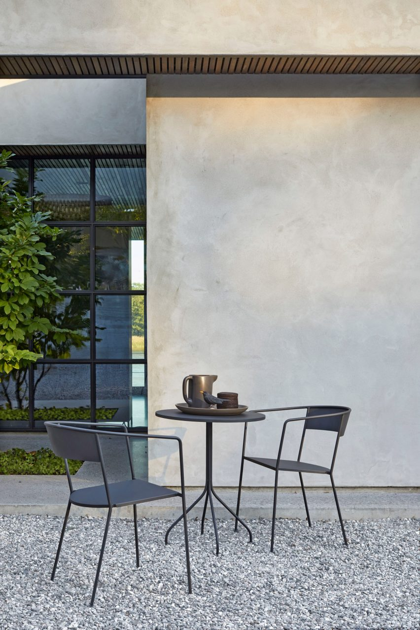 Arholma chair by Alexander Lervik for Skargaarden in a garden