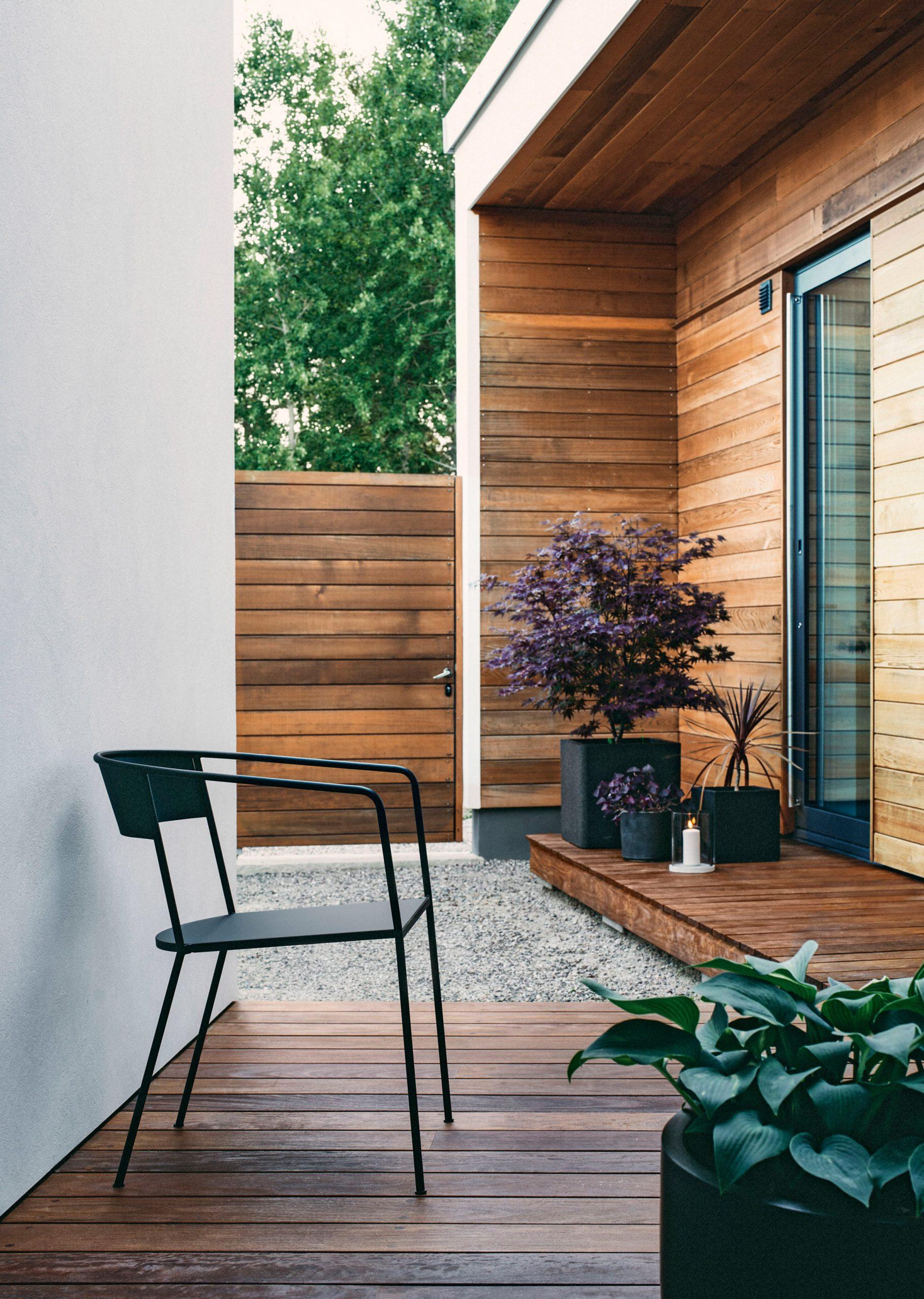 Arholma chair by Alexander Lervik for Skargaarden on a garden deck