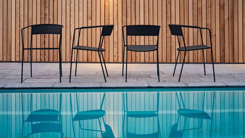 Arholma chair by Alexander Lervik for Skargaarden outdoors by the pool