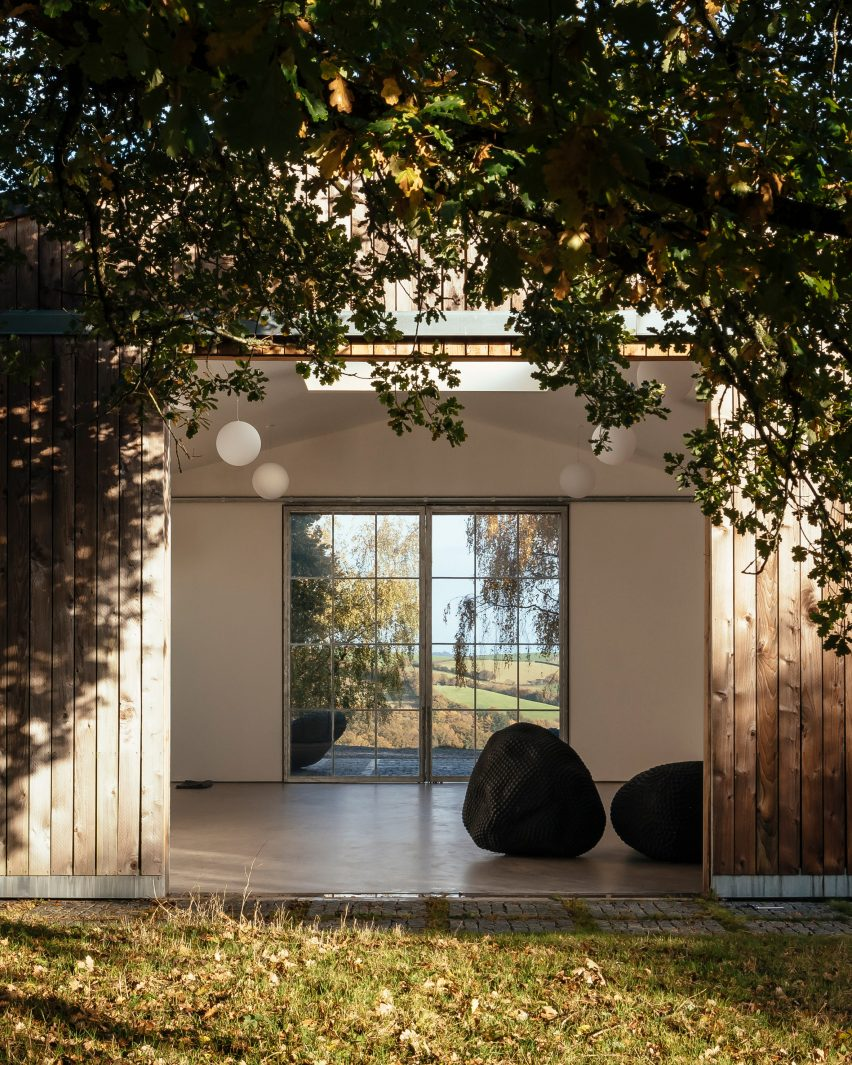 The door to an art studio in an old barn