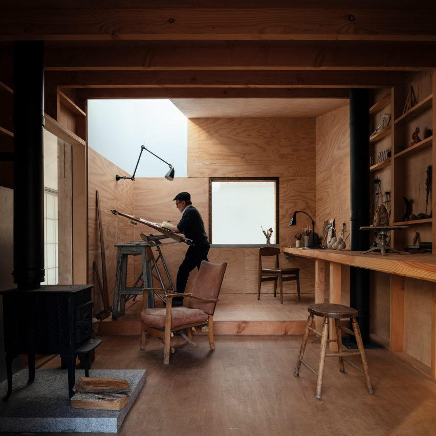A wood-lined artist studio