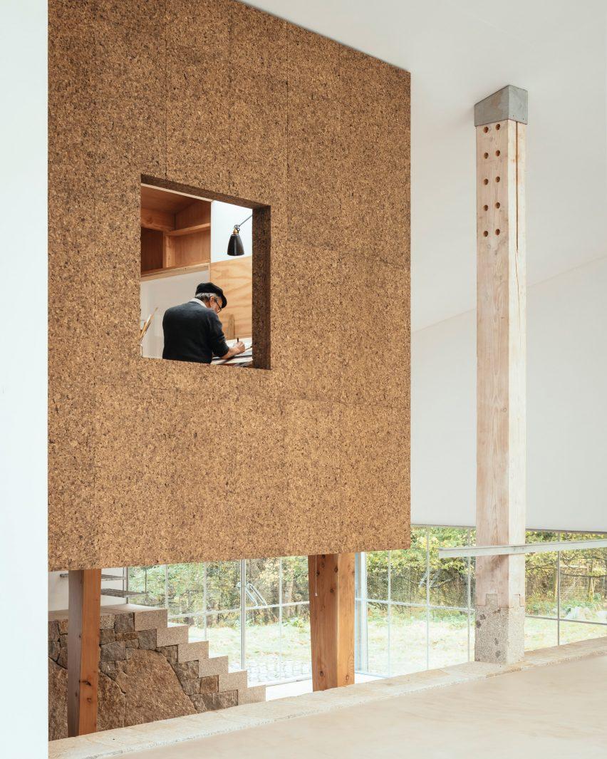 A cork-clad artist studio