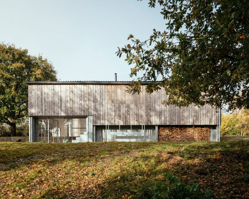 A renovated barn clad in cedar