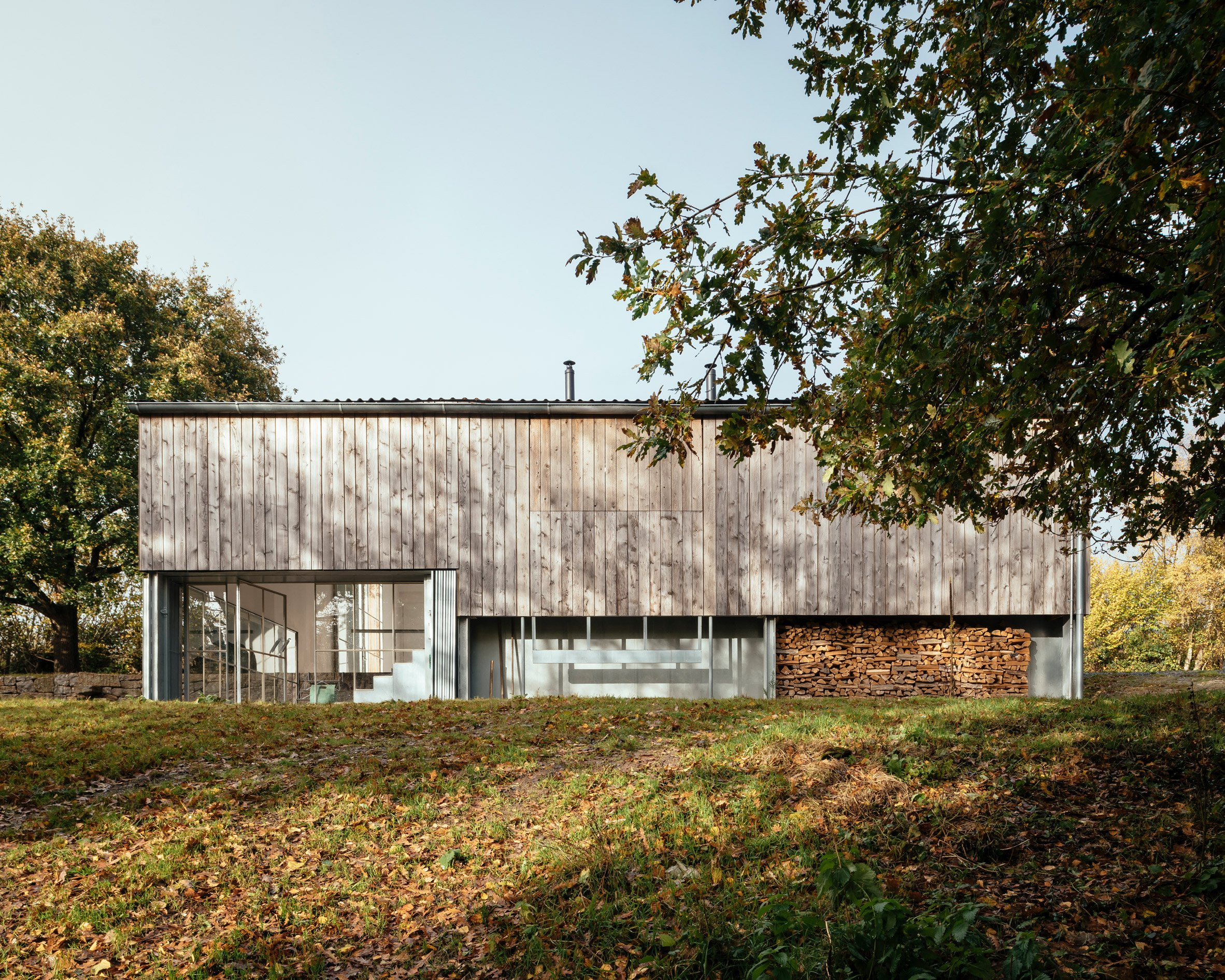 A renovated barn clad in cedar