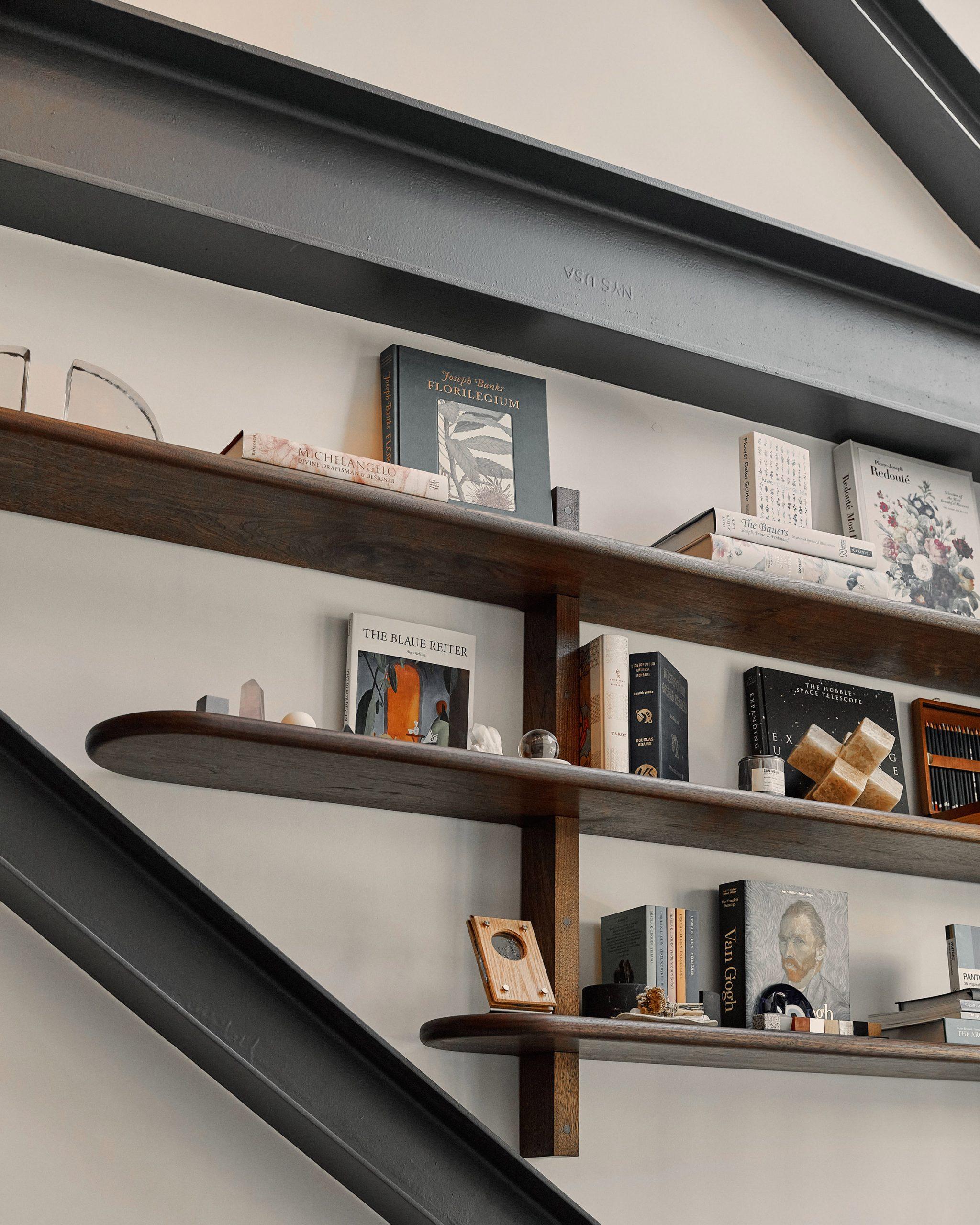 Bookshelves by Joseph Cauvel in Williamsburg tattoo parlour
