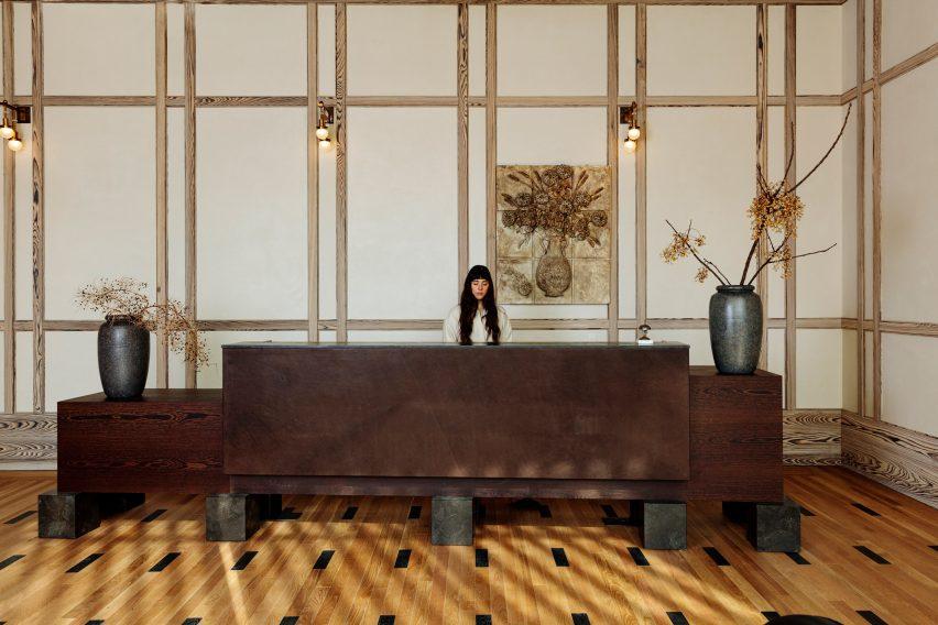 Reception desk of Austin Proper Hotel and Residences