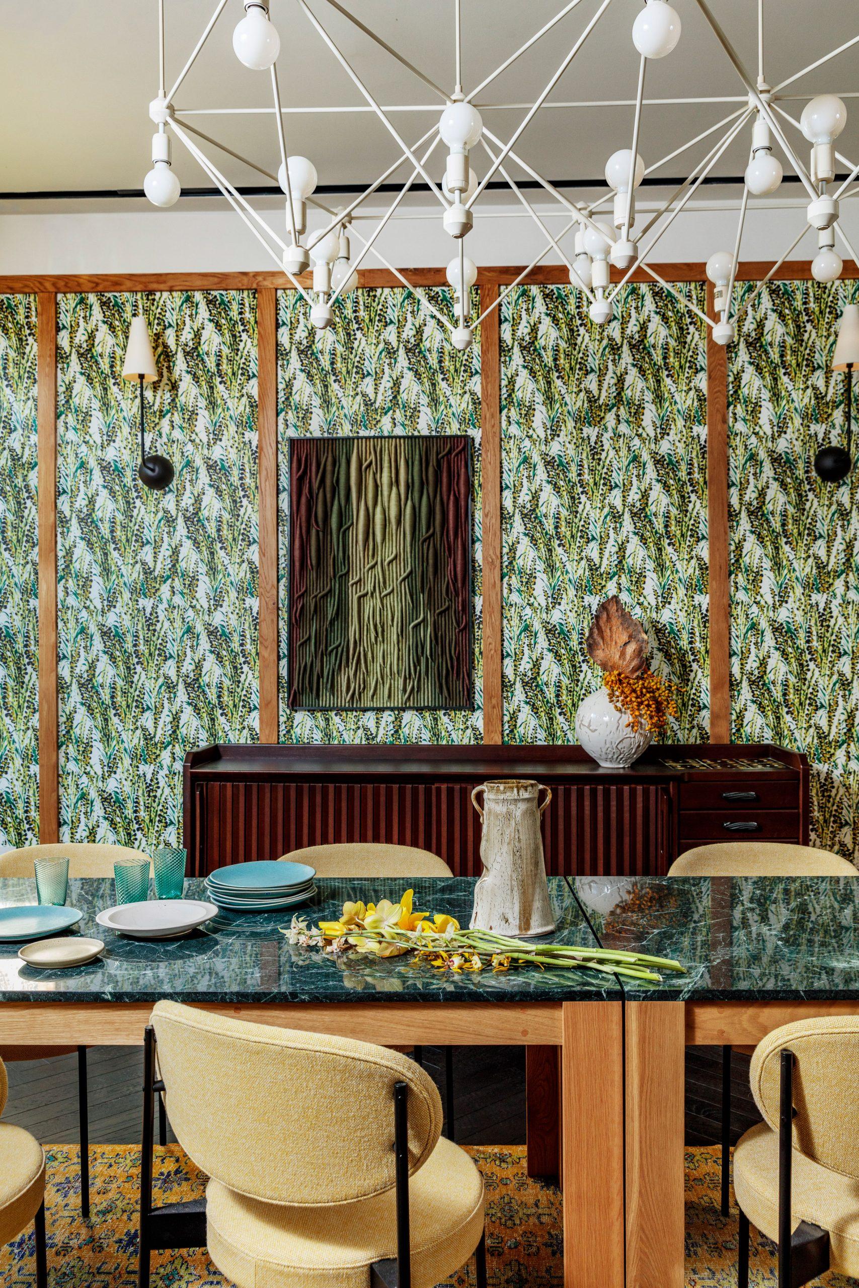 Patterned green wallpaper in Austin hotel