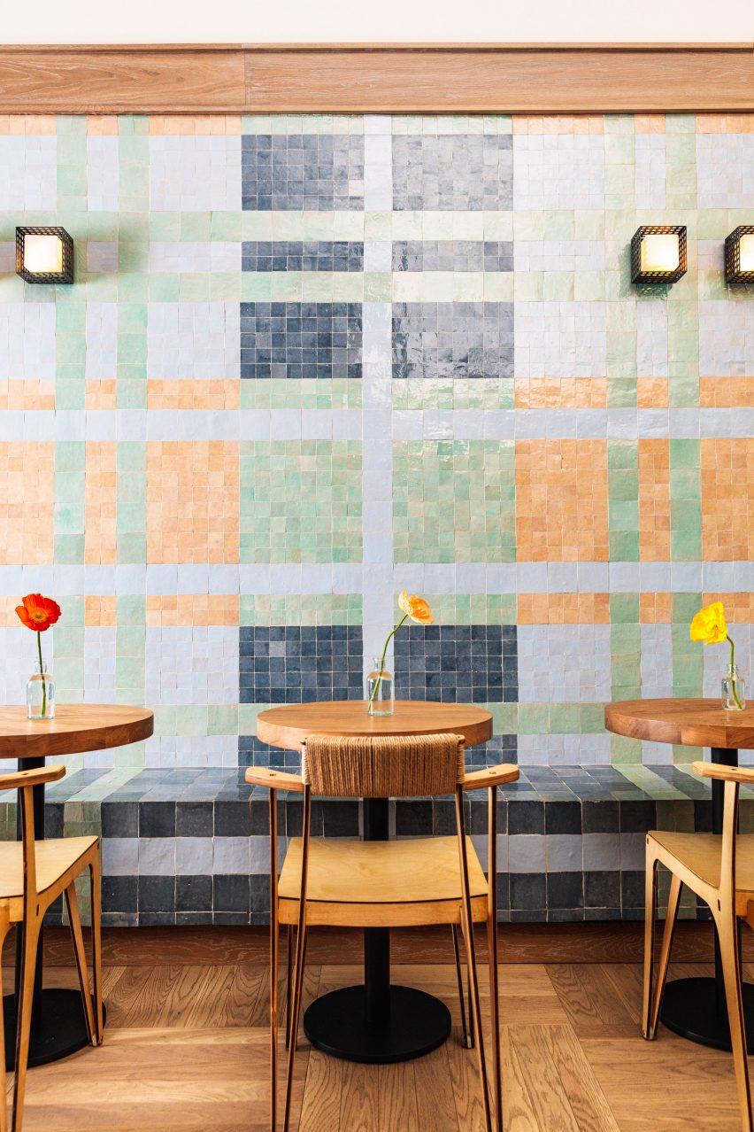 Pastel tiles on Mockingbird cafe by Kelly Wearstler