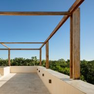 Delicate rooftop wooden frames