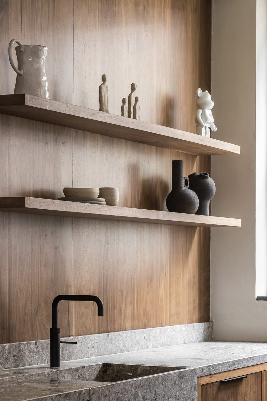 Wood-panelled kitchen of garage conversion by Barde + vanVoltt