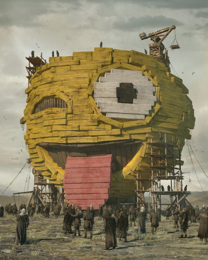 Image showing emoji being constructed from Everydays: The First 5000 Days by Beeple via Christie's