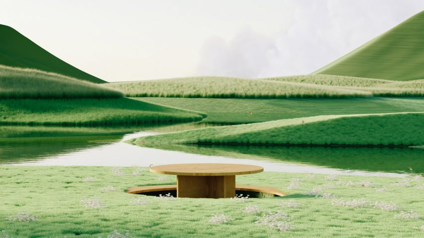 Backyard render by Alexis Christodoulou showing sunken picnic table in meadow