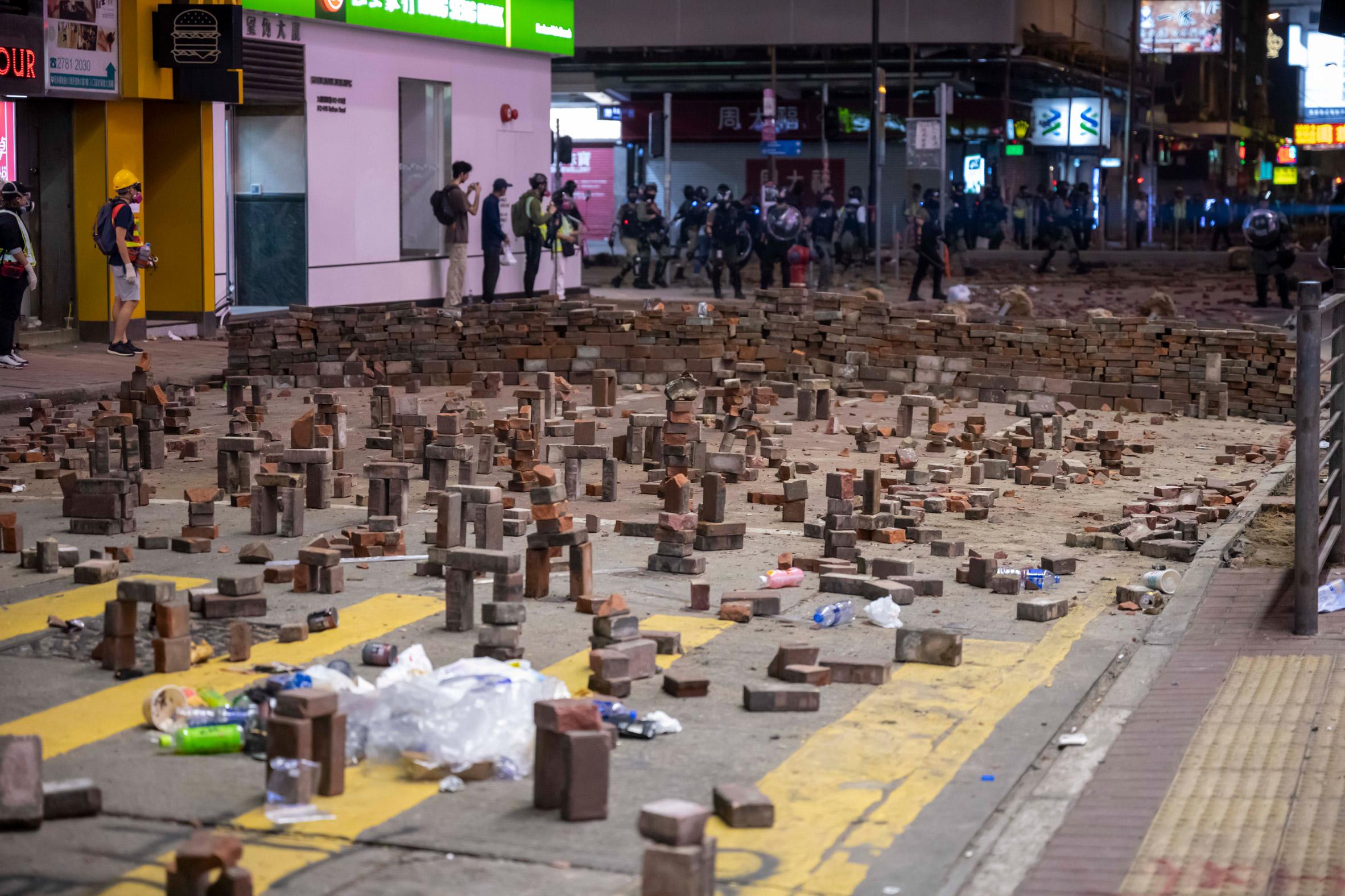 The roadblocks form buttresses from three bricks
