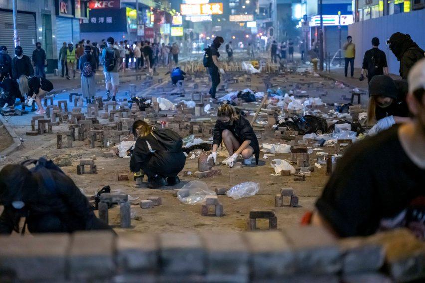 Hong Kong protestors' Brick Arches won the People's Choice Award