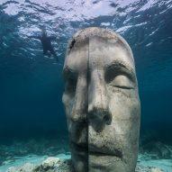 A snorkelers observing an underwater sculpture