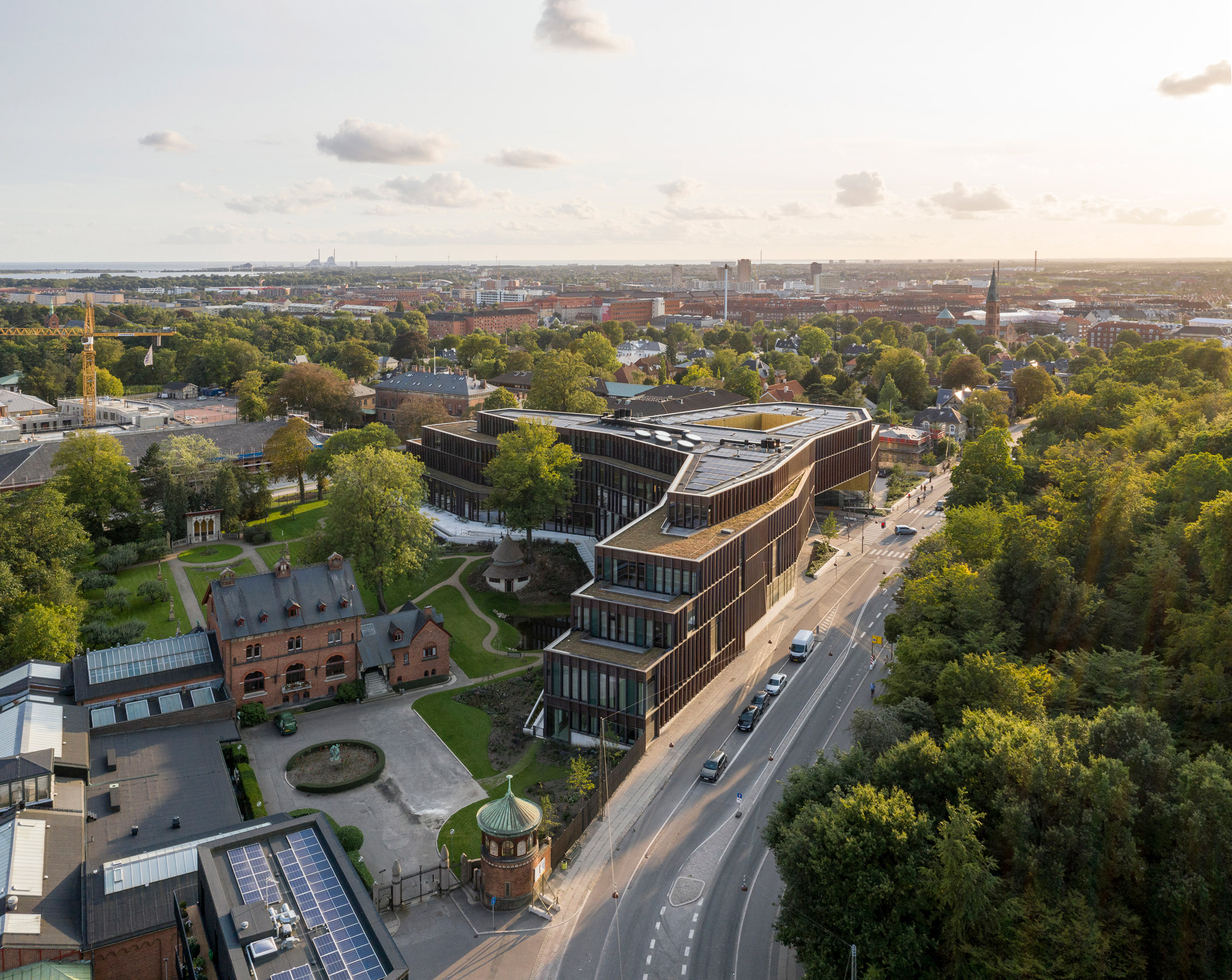 Aerial view of the headquarters by CF Møller Architects