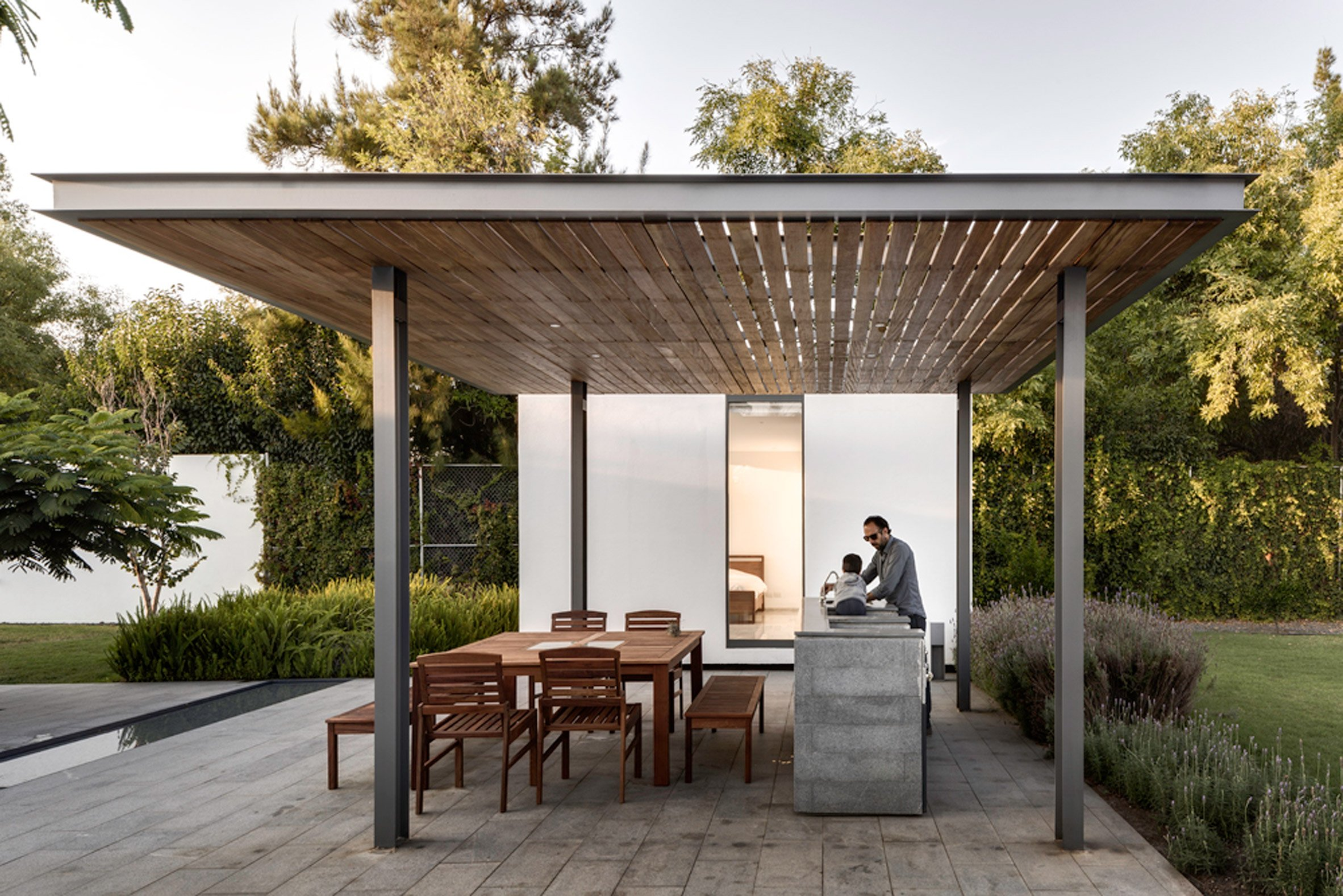 Outdoor dining space on granite terrace