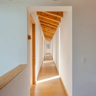 A wooden corridor