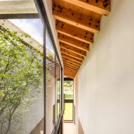Exposed beams on the roof