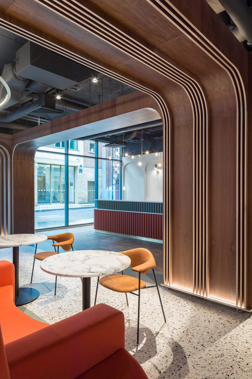 Seating in Chapter Old Street by Tigg + Coll Architects