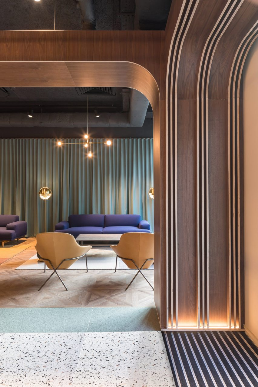 Curtains in Chapter Old Street by Tigg + Coll Architects