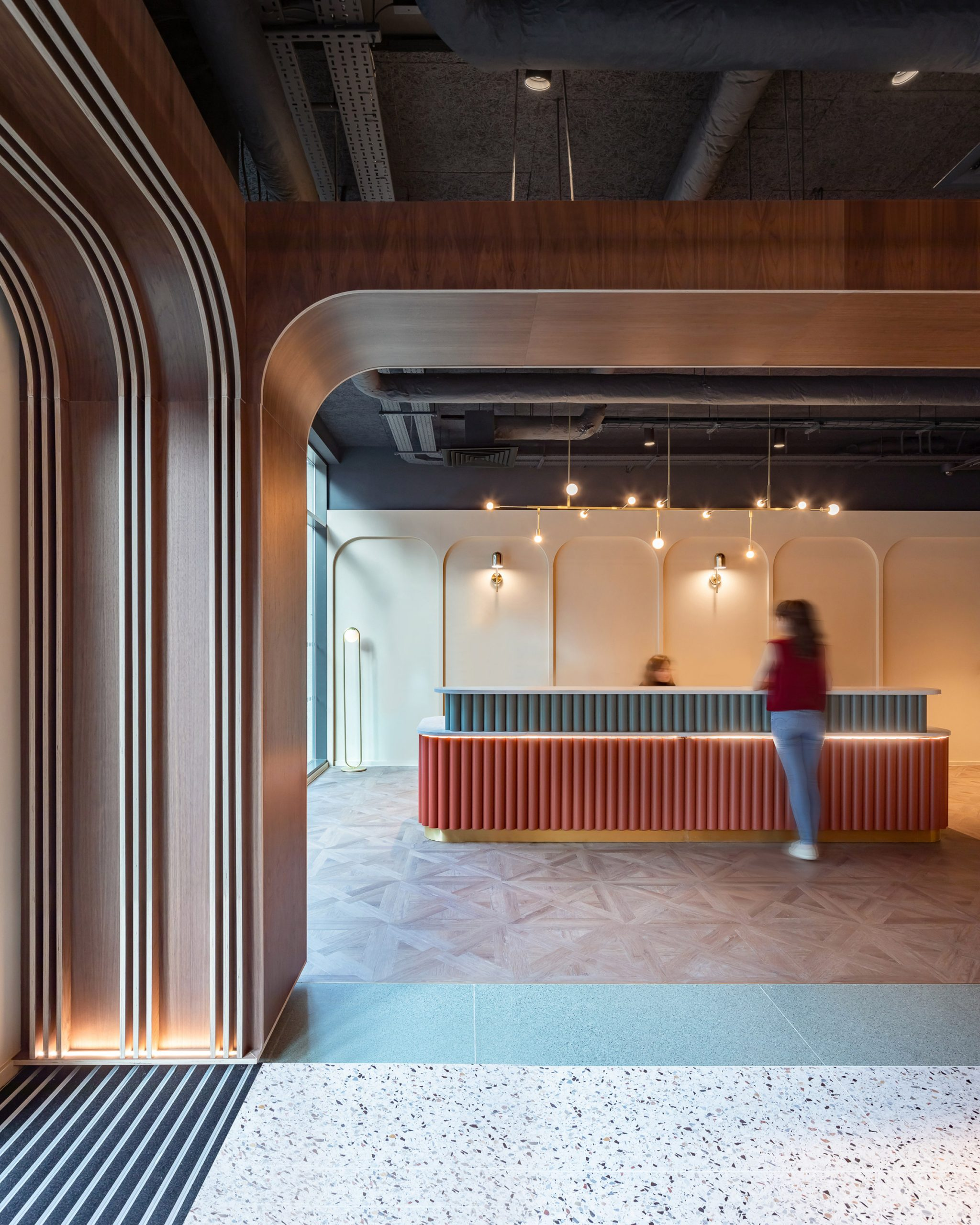 Reception desk at Chapter Old Street by Tigg + Coll Architects