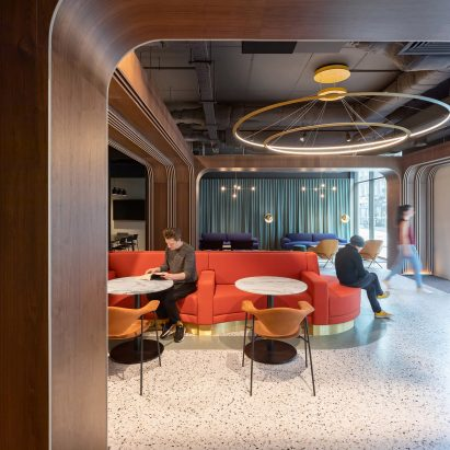 Banquette in Chapter Old Street by Tigg + Coll Architects