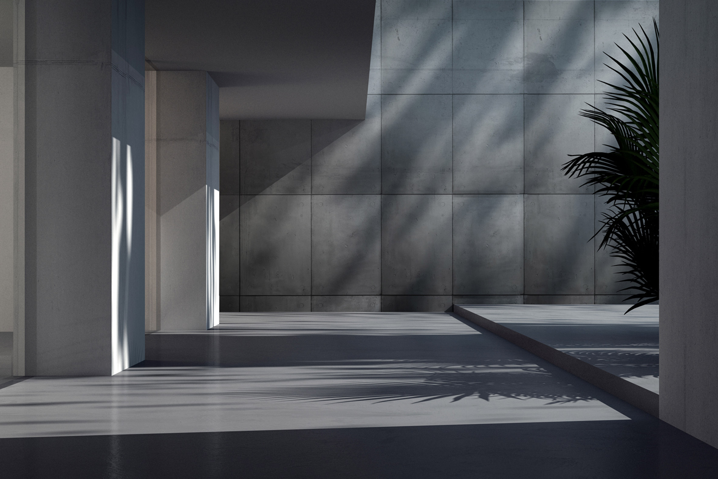 Concrete Optik coating by Ideal Work in a foyer