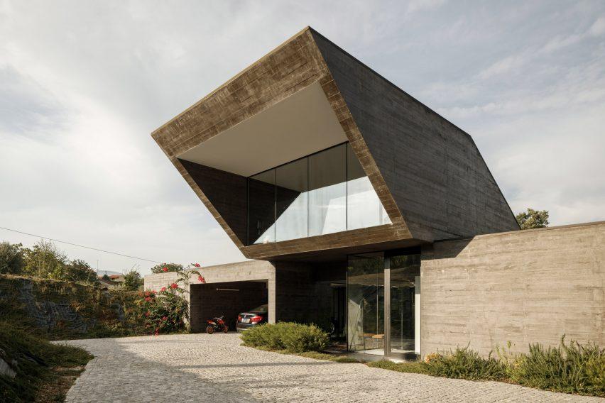 The angular facade of a concrete house