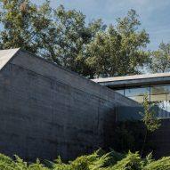 A board-marked concrete facade