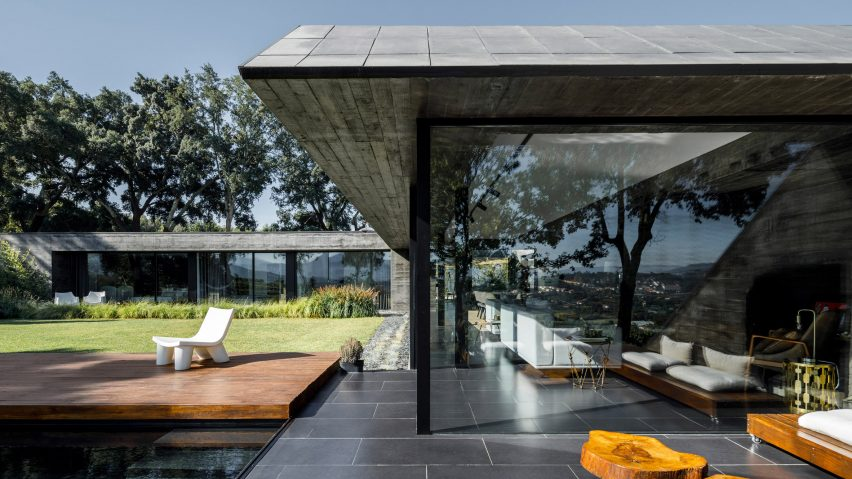 The concrete and glass facades of a Portuguese house