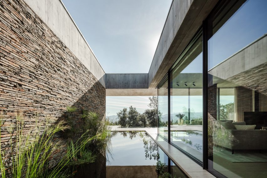Small pools divide the interior of Portuguese house