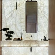 Marble sink with rectangular mirror