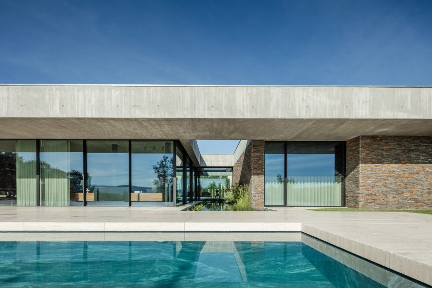 Stone and concrete facade of Portuguese house