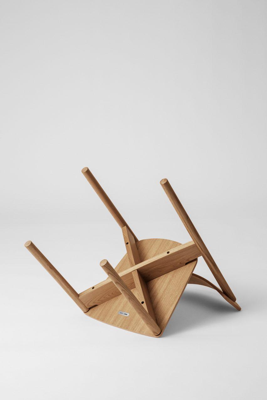 Underside of Cross Chair in oiled oak