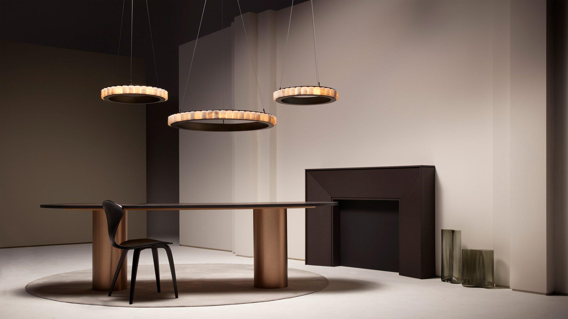 Three Avalon chandeliers in an interior