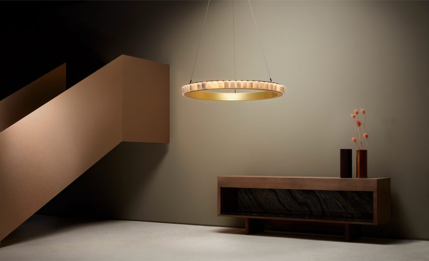 Single alabaster chandelier by CTO Lighting