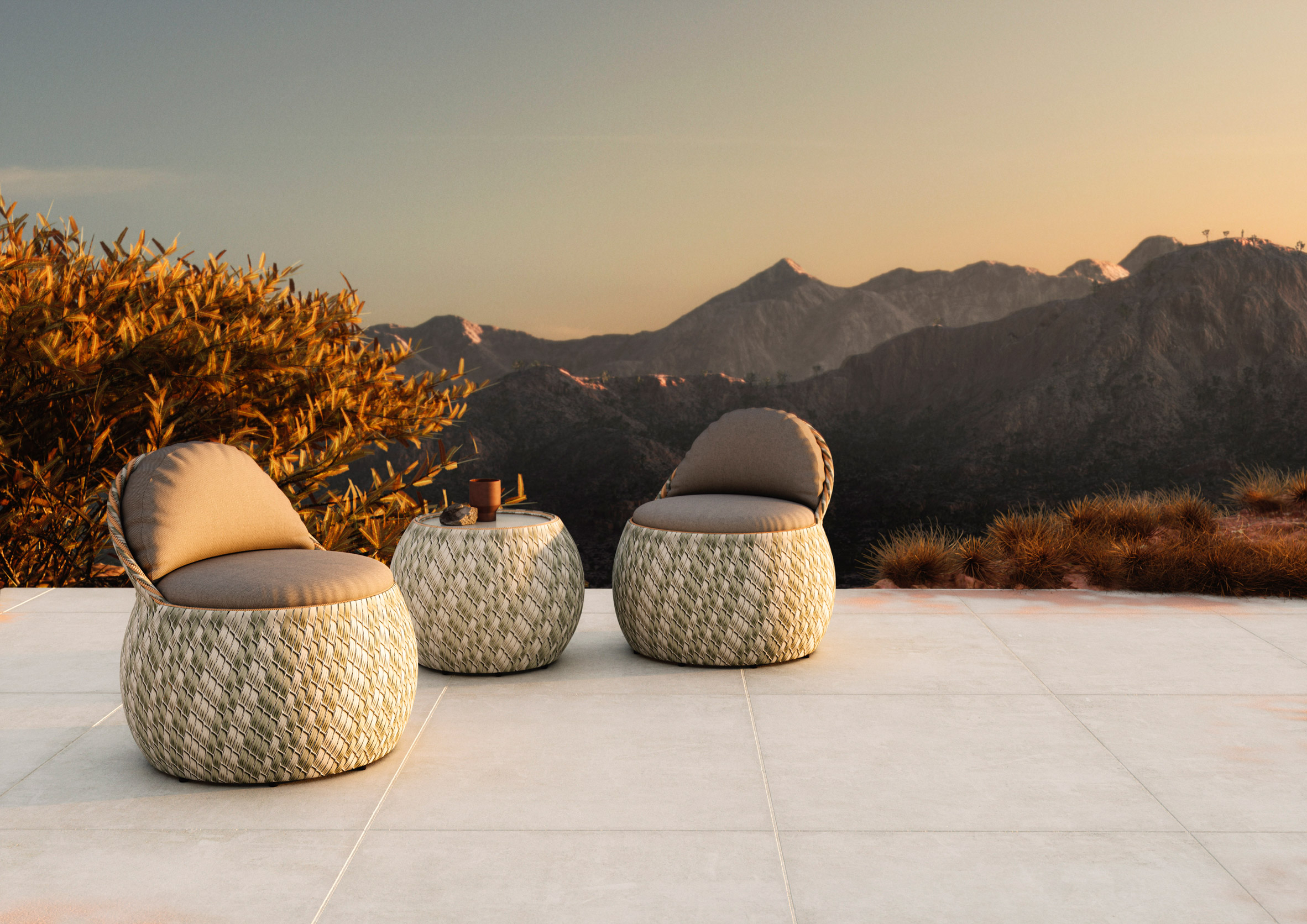 The Dala collection by Stephen Burks for Dedon in an outdoor environment