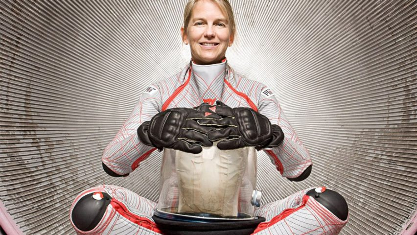 Dava Newman wearing the BioSuit for space exploration